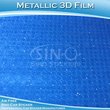 CARLIKE 1.52x20M 5FTx65.6FT Fast Delivery Metallic 3D Blue Round Type Car Body Wrap Paper Roll
