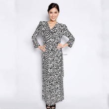 2016 malaysia stretchable waistband baju kurung wholesale abaya floral muslim dress