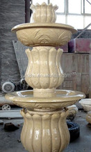 Yellow Beigh Color Granite Marble Stone Hand Carved Public Stone Wall Fountain