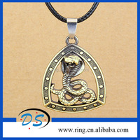 Vintage Triangle Hollow Out Cobra Bronze Necklace Pendant Wholesale Jewelry