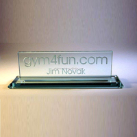 Wholesale noble jade laser engraved glass name plaques for leaders as office stationery set
