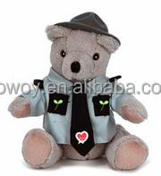 personalized logo imprinted custom mascot beanbag plush soft stuffed bear in a trooper uniform shirt dress bandana t-shirt bib t
