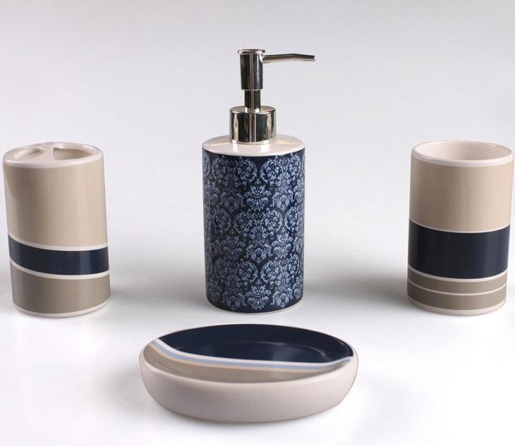 4pcs Ceramic Bathroom Set Art Home Decor Bathroom