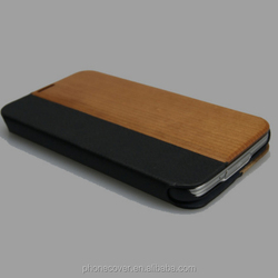 Newest arrival unique cheap fashionable popular wooden+leather phone case for samsung