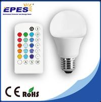 2 years warranty RGB led bulb A60 with remote control 4w 5w led lamp led emergency light