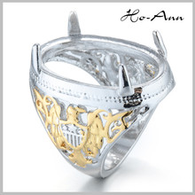 Wholesale Fashion Mens Titanium Stainless Steel Indonesia Ring Model for Loose Gemstone Jewelry