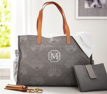 Fashion 100% cotton canvas beach tote bag with leather handles