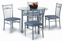 Hot sale! Modern round glass dining table set with 4 chairs