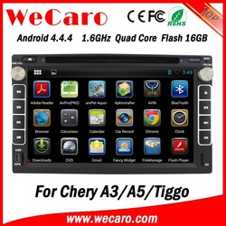 Wecaro Android 4.4.4 WIFI 3G touch screen car dvd player for chery tiggo car audio radio with gps gps navigation system