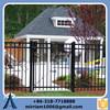 three- rail black aluminum fence, cast aluminum fence, anti climb fence