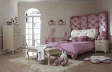 Modern design light pink and ivory kids bedroom furniture set children bed for girls