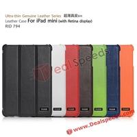 Ultra-Slim Tri-Fold Smart Genuine Leather Case for iPad Mini 2