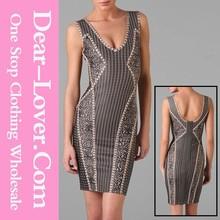 2015 Sleeveless V-neck Abstract Print Dress Online Shopping