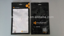 resealable mobile phone accessories plastic bag with ziplock and euro hole