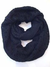 Big Cashmere Scarf Blue Knitted Pattern Snood Cashmere Scarf