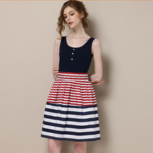 HJL-1105 Veri Gude 2015 summer factory price European high-end women's clothing branded ladies striped pinafore dress