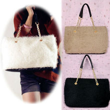 Popular handbags Korean Women's Girls PU Leather&Plush Winter New Arrival Tote Bags