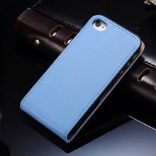 Genuine leather luxury blue flip mobile phone case cover for Iphone 4S