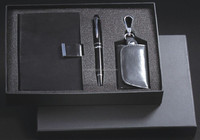 Free shipping wholesale new promotion gift set Note cards & H synthetic leather key bag & classical rough paint pen gift set