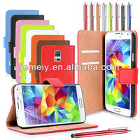 For Samsung Galaxy S5 I9600 Real Genuine Leather wallet case cover mobile phone case