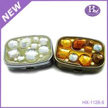 Hx-1128 jóias delicado promoção caixa do comprimido do metal pequena caixa de plástico vidro de remédio presente