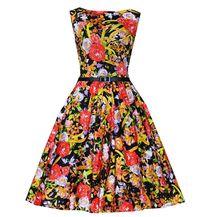Walson s-2xl Bestdress walsonrockabilly 50s Vintage Hepburn Crewneck Blue and white porcelain Print Prom Swing Dress clothing