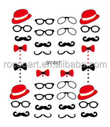 SY017/2015 Trendy glass hat nail art wrap nail sticker water transfer decals