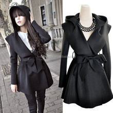 2015 Fashion Spring Belt Women Coat With Hood PW-FZ-3487