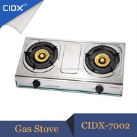 2 Burner Stainless Steel Brass Burner LPG Gas Stove(CIDX-7002)
