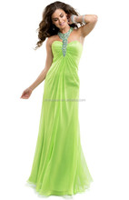 New Green Chiffon Beaded Evening Gowns 2015 Halter Off the Shoulder Long Prom Dresses XP-34