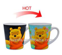 Full printing V mug colour changing ceramic mug magic bear coffee cup