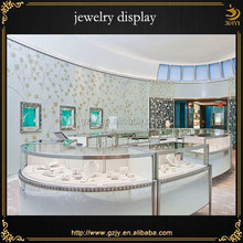 2015 white charming jewellery display set for store,jewelry showroom furniture with jewelry showcase