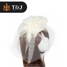 >>2015 fashion hot sale Attractive Wedding Fascinator Veil Feather Hard Yarn Headband Hats Women Brides Hair accessories //