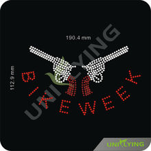 New style bike week guns rhinestone transfer hotfix motif