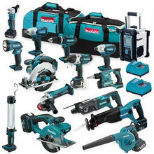 Cordless 15-pc Tool Set Combo Kit 18V Impact Driver Saw Grinder Power Drill