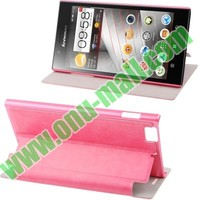 wohlesale Sheepskin Texture leather flip case for lenovo k900