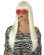 peluca de la señora saludable blanca larga peluca sintética