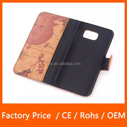 High Quality PU Leather Unique World Map Printed Folio Magnetic Stand Wallet Case Smart Cover For Samsung S6