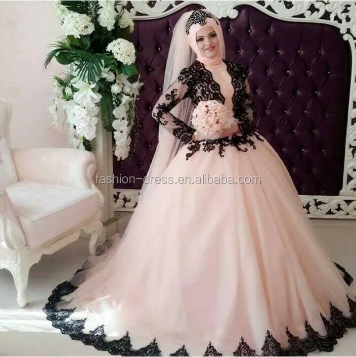 ... Wedding Dress With Black Lace Applique Long Sleeve Hijab Wedding Dress