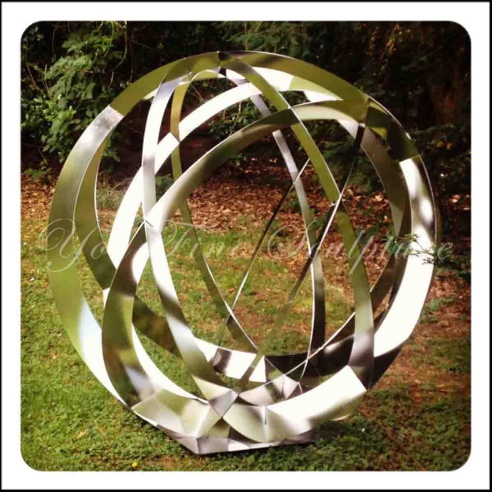 Rouge rose grande en acier inoxydable sph re sculpture - Sculpture metal jardin ...
