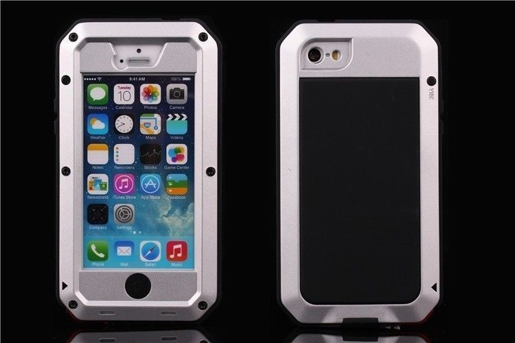 Aluminum Gorilla Glass Metal Cover Case for iPhone 5 5S Waterproof Shockproof Dropproof 4 proofs