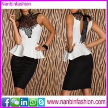 Wholesale white and black lace top office dress