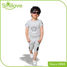 High quality cheap factory summer printing t shirt organic cotton boy t-shirt+striped pants
