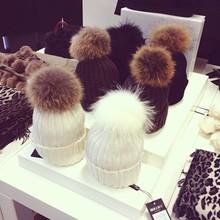 Warm Upscale Rabbit Fur Pom Pom Acrylic Knitted Hats/ Beanie Hats