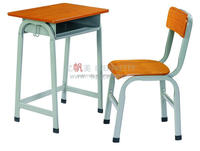 Single desk and chair for school /wood steel single classroom desk and chair /single metal school desk and chairs