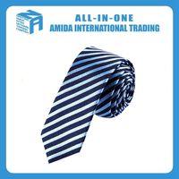 Navy blue and sky blue stripe professional men's silk tie