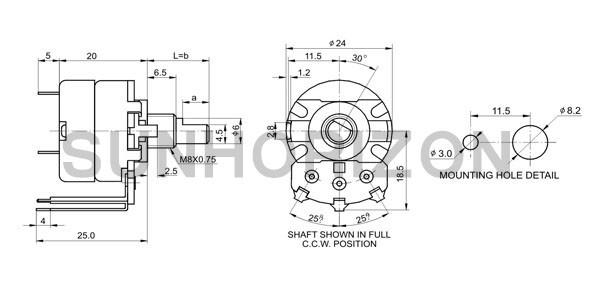 thumb wheel rotary 10k 100k 200k 500k 1m potentiometer with switch