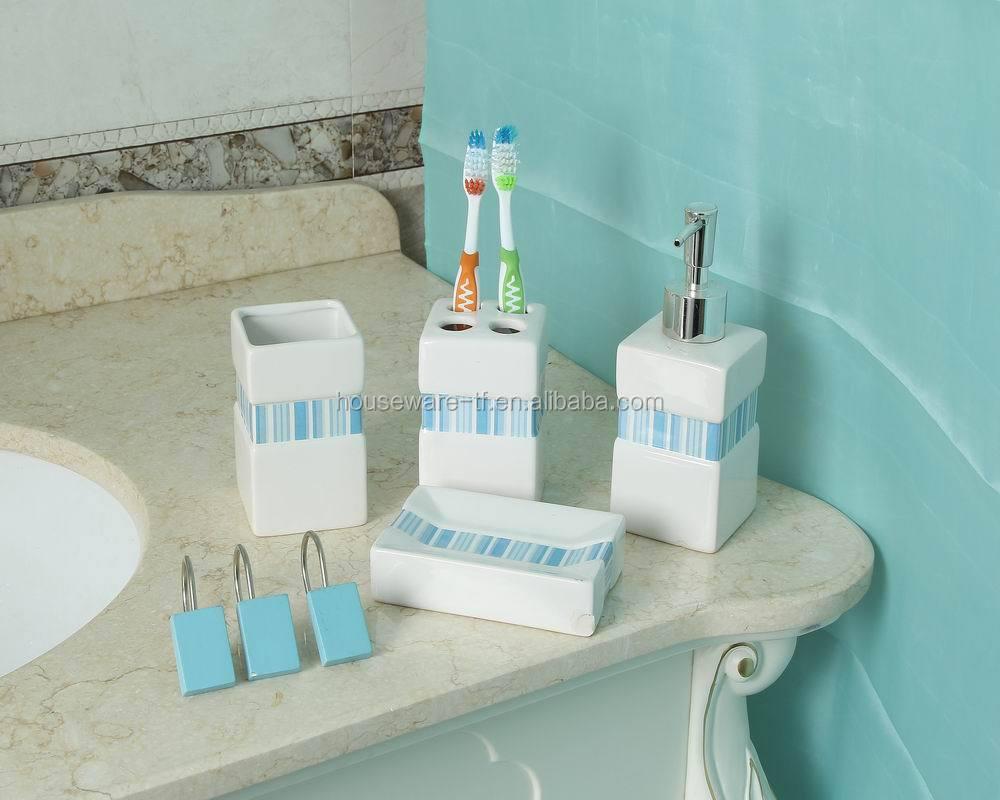 Latest High Quality Fancy Blue Ceramic Bathroom Accessory - Buy ...