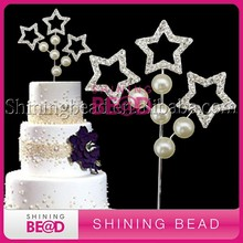 funny rhinestone three stars cake toppers with pearl for christmas decorations wholesale