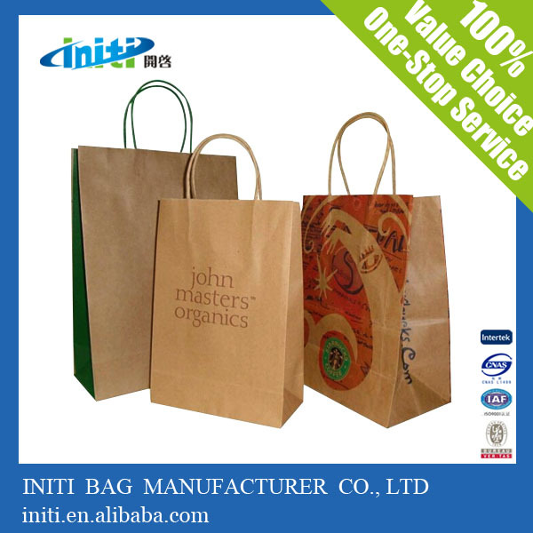 2015 promotional custom paper bag with brown paper